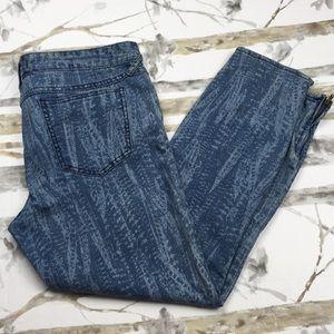 Free People Distressed skinny zipper jeans